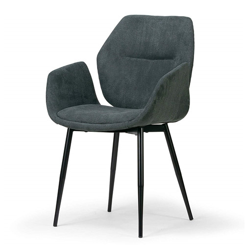 Grey Velvety Fabric Dining Chair with Black Metal Legs