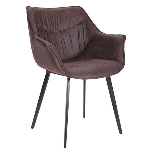 Modern Retro Microfiber Dining Accent Chair with Flared Steel Legs