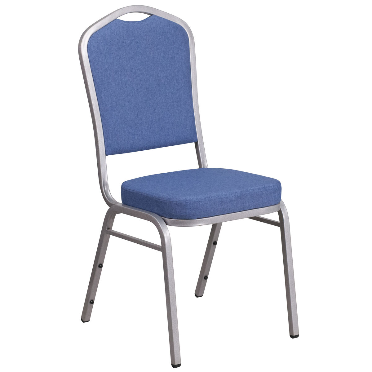 Crown Back Stacking Banquet Chair in Blue Fabric - Silver Frame
