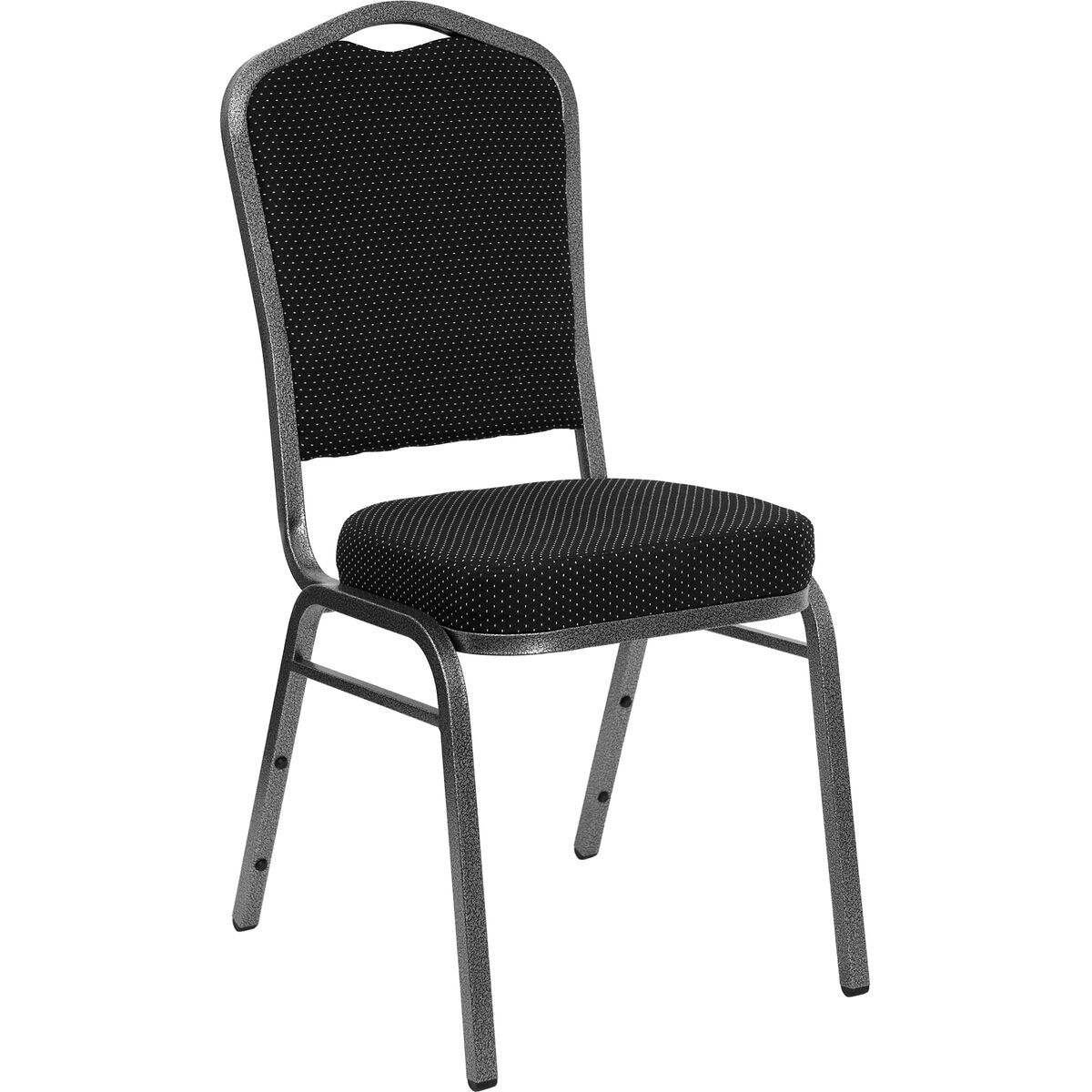 Crown Back Stacking Banquet Chair in Black Dot Patterned Fabric Silver Frame