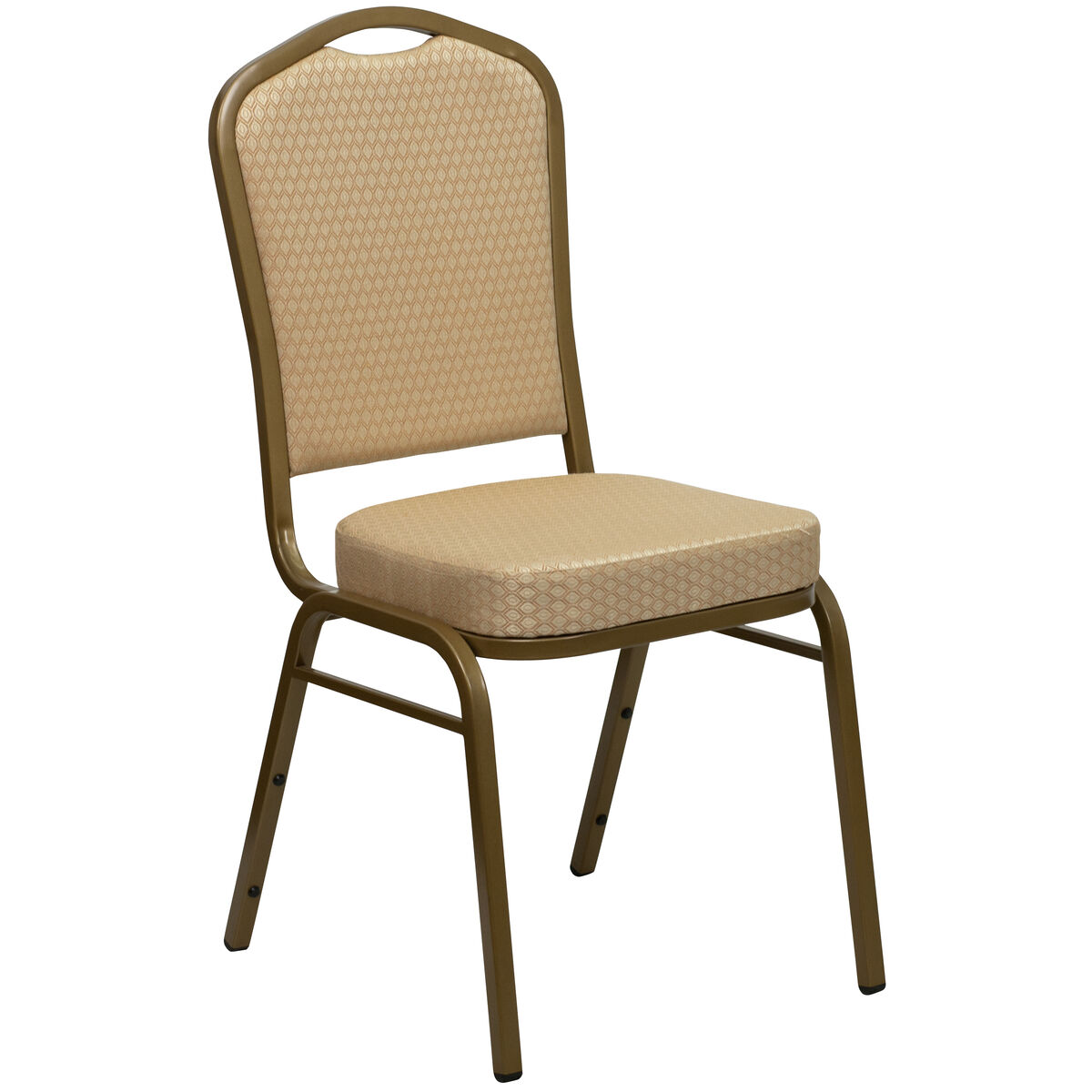 Crown Back Stacking Banquet Chair in Beige Patterned Fabric - Gold Frame