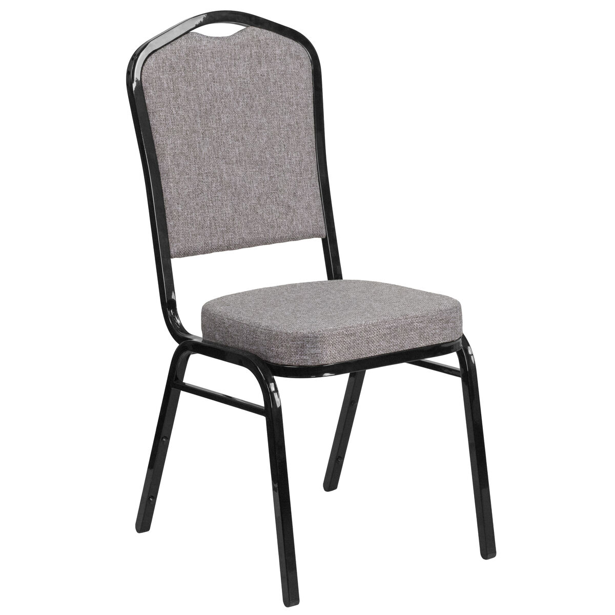 Crown Back Stacking Banquet Chair in Gray Fabric - Black Frame
