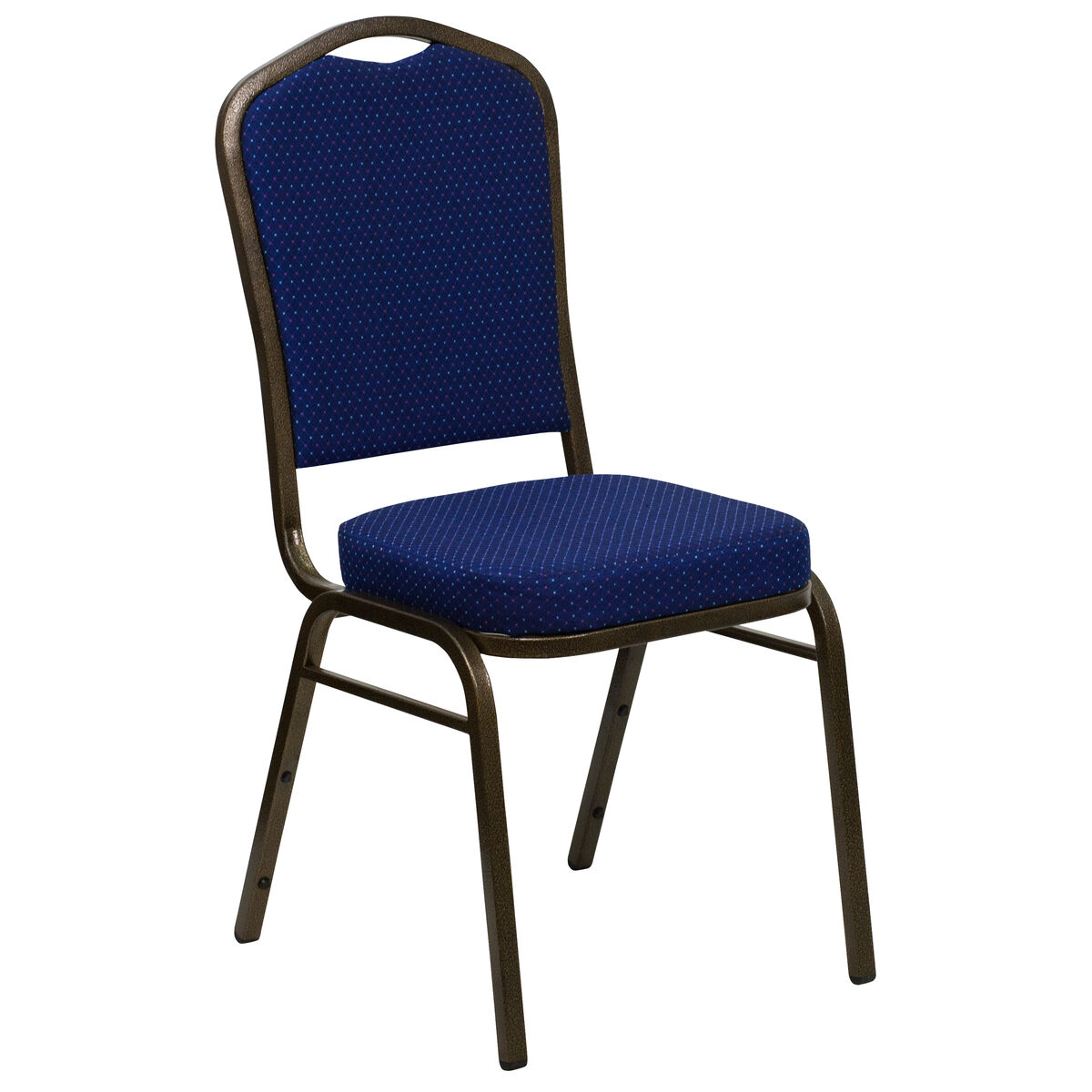 Crown Back Stacking Banquet Chair in Navy Blue Patterned Fabric - Gold Frame