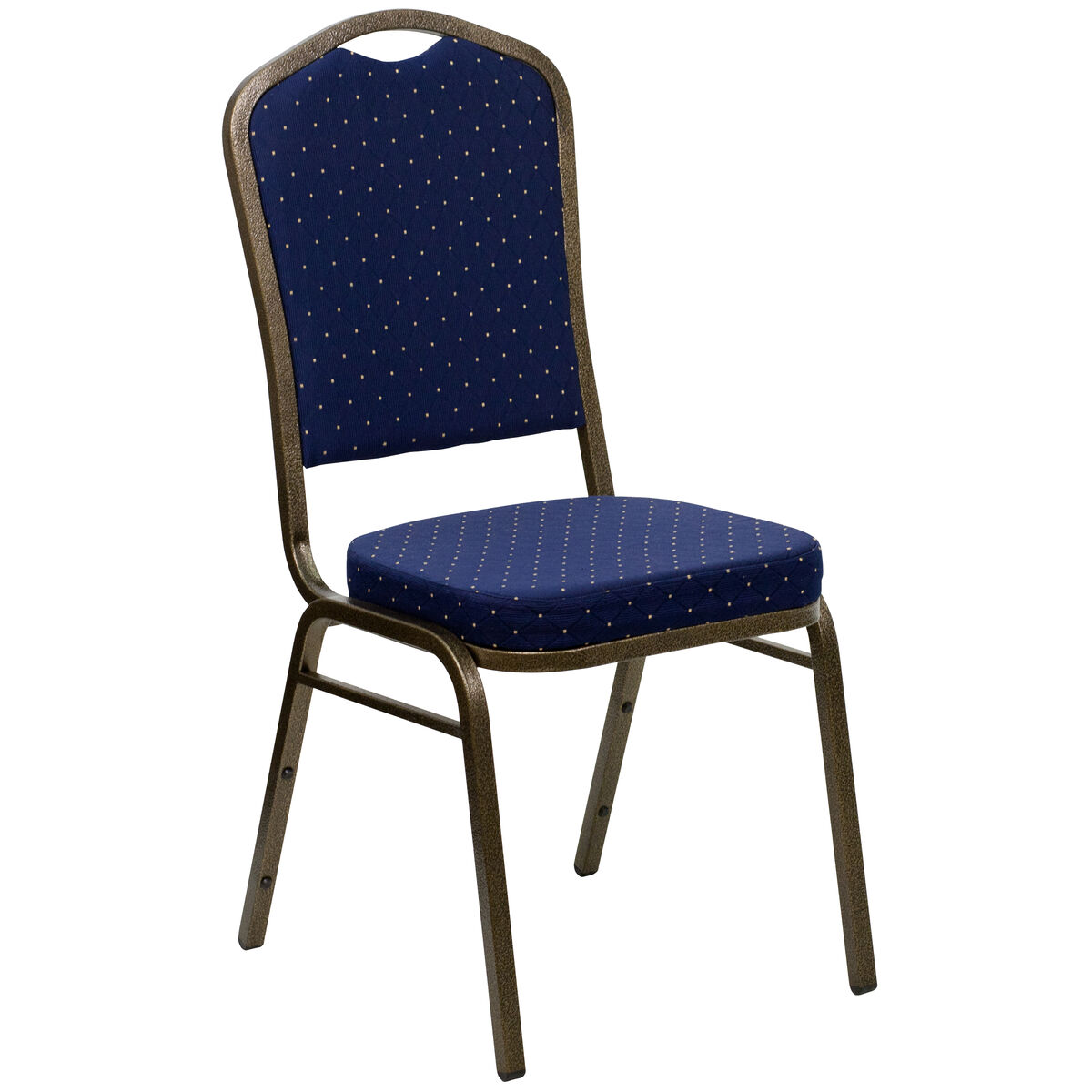 Crown Back Stacking Banquet Chair in Navy Blue Dot Patterned Fabric - Gold Frame