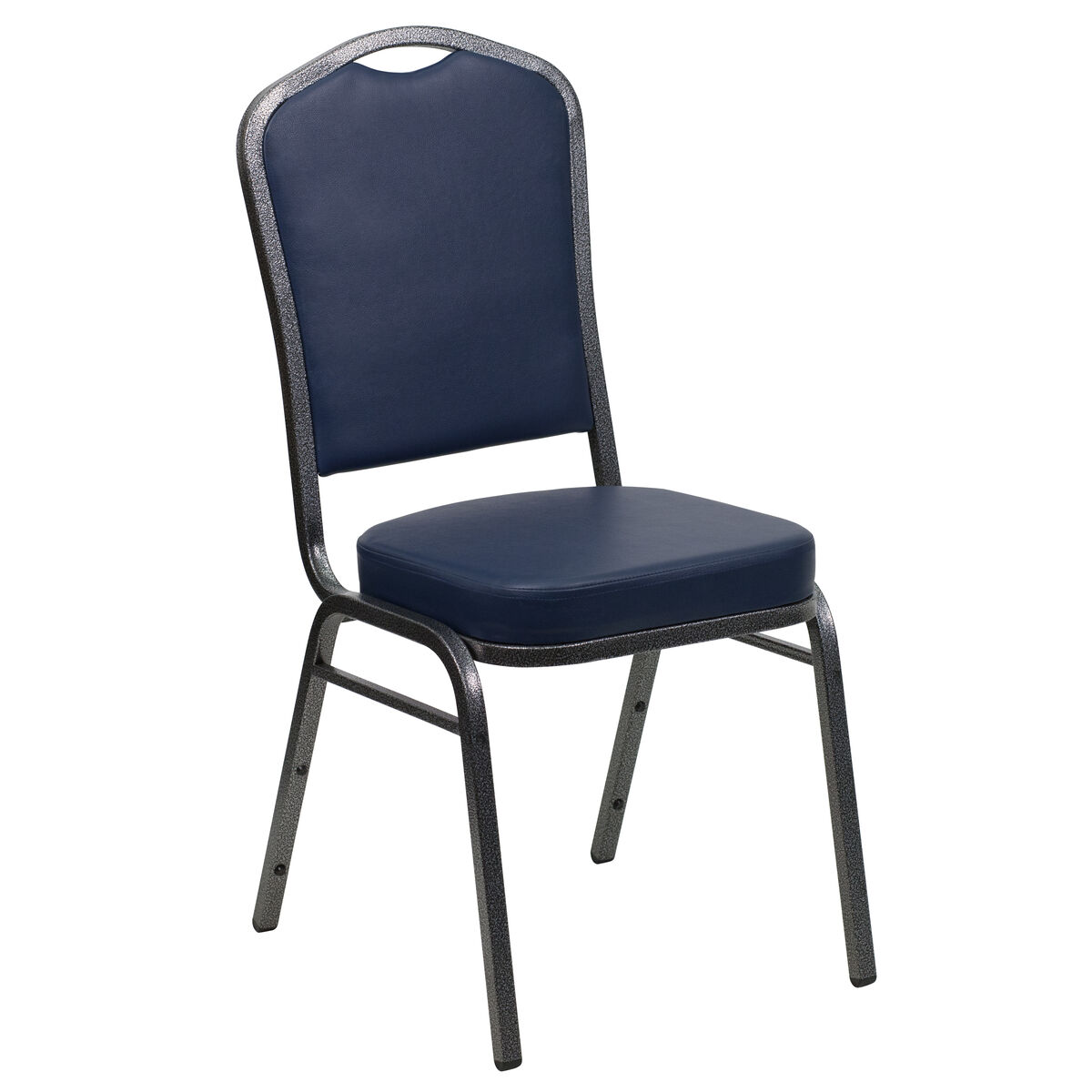 Crown Back Stacking Banquet Chair in Navy Vinyl - Silver Frame