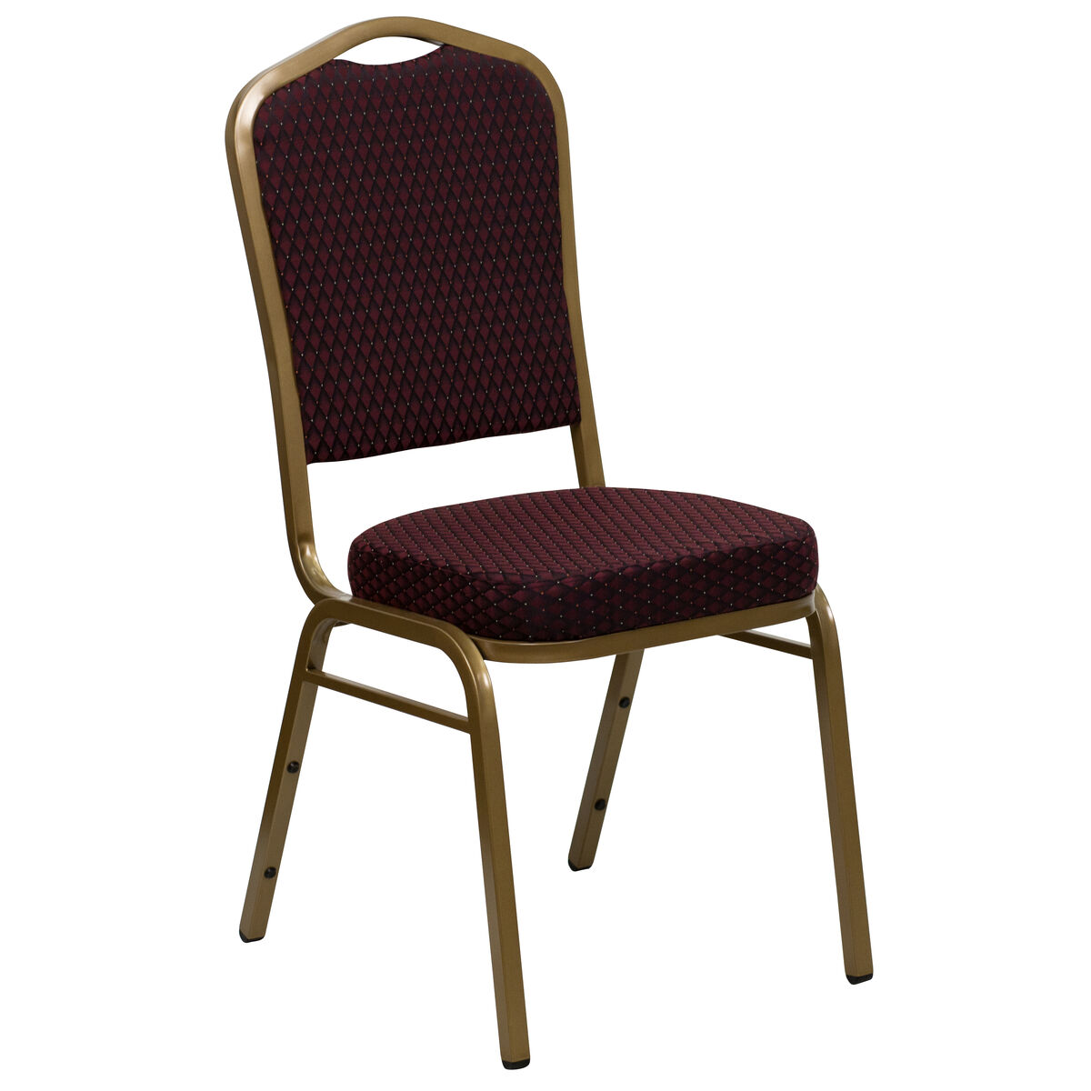 Crown Back Stacking Banquet Chair in Burgundy Patterned Fabric - Gold Frame