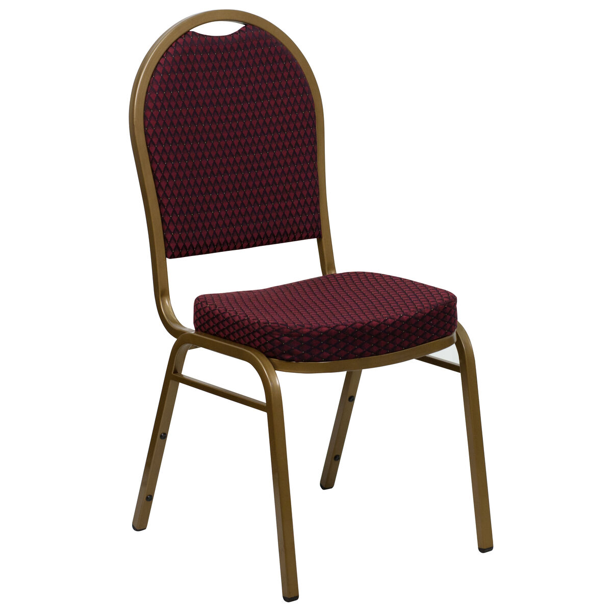 Dome Back Stacking Banquet Chair in Burgundy Patterned Fabric - Gold Frame