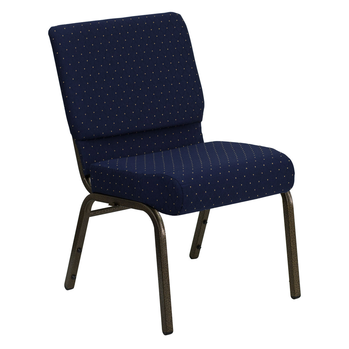 Stacking Church Chair in Navy Blue Dot Patterned Fabric