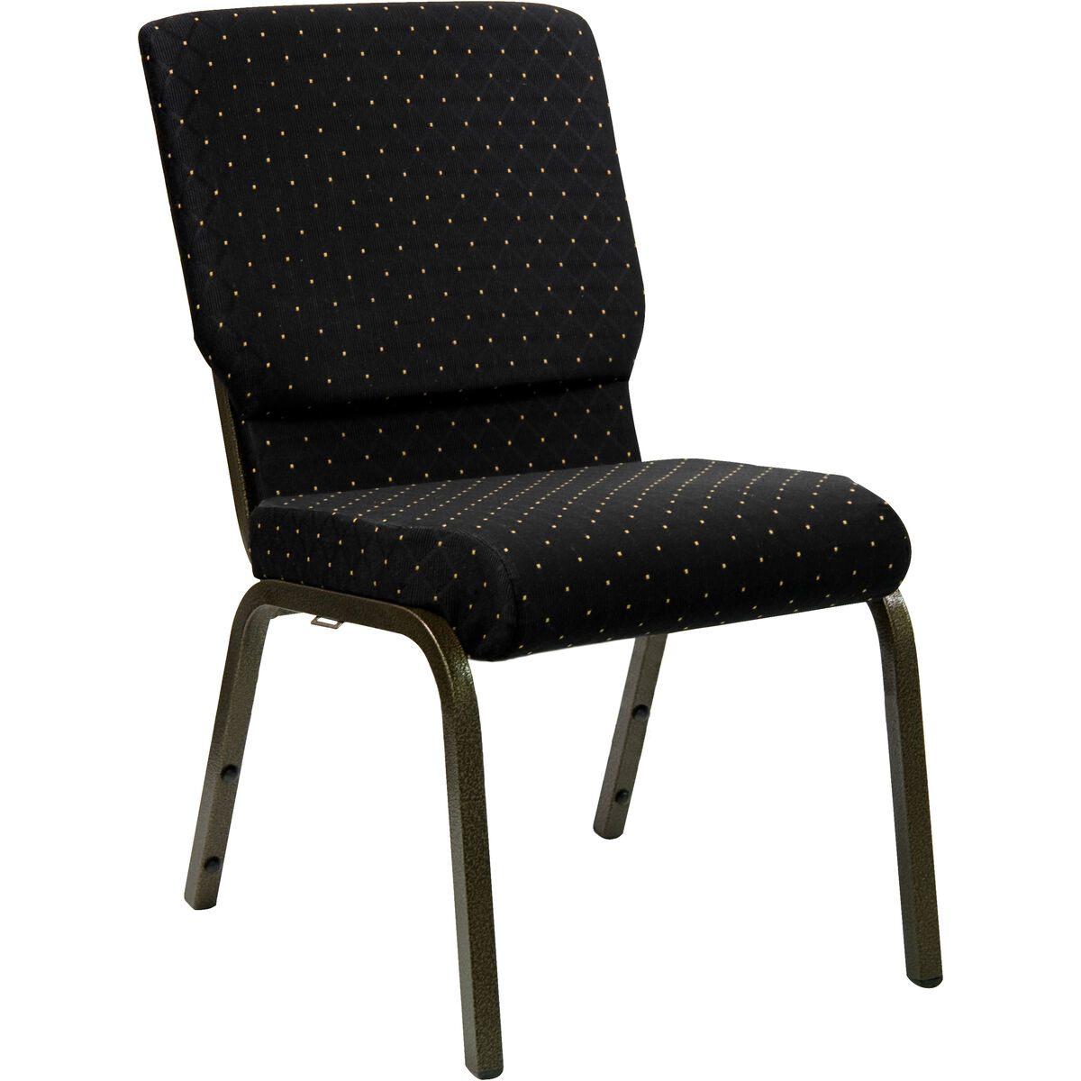 Stacking Church Chair Black Dot Patterned Fabric Gold Metal Frame