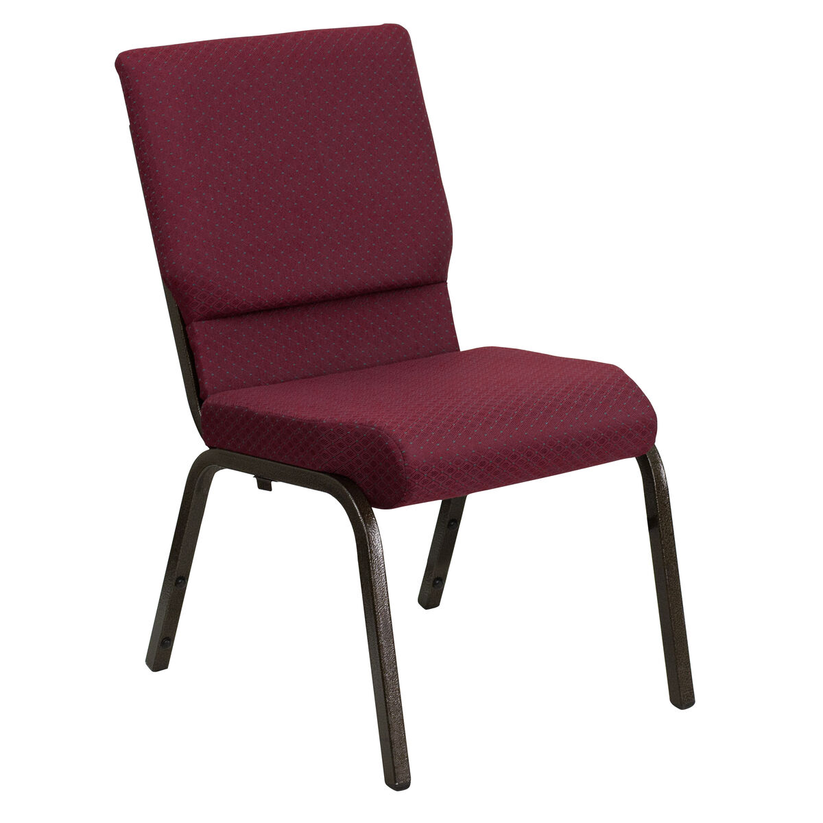 Stacking Church Chair in Burgundy Patterned Fabric Gold Metal Frame
