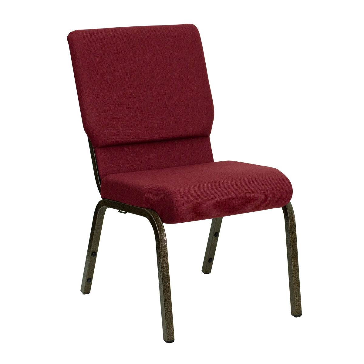 Stacking Church Chair in Burgundy Fabric Gold Metal Legs
