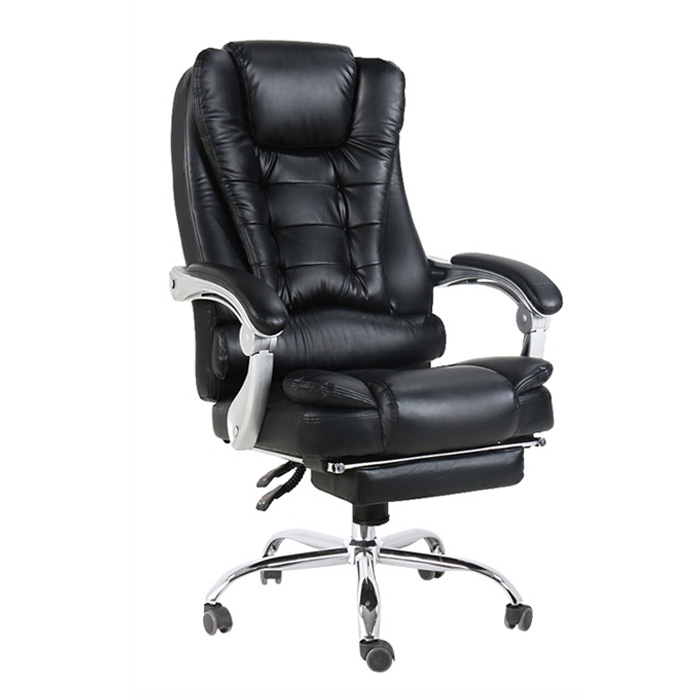 high quality black economic swivel office chair leather lumbar support