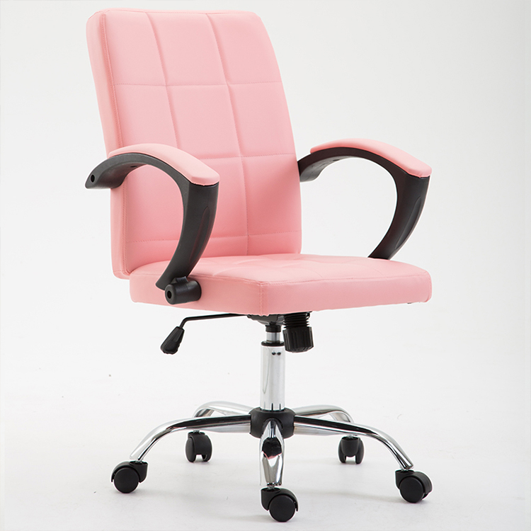 office chair bonded leather pink made in china swivel