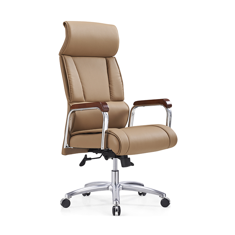 china office chairs bonded leather comfortable high back design brown