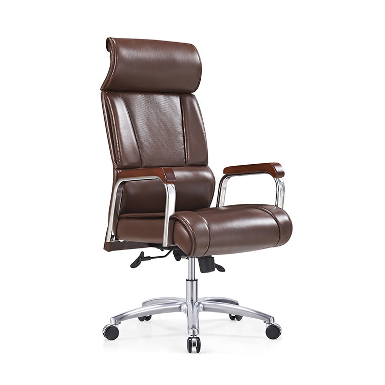 china office chairs bonded leather comfortable high back design dark brown