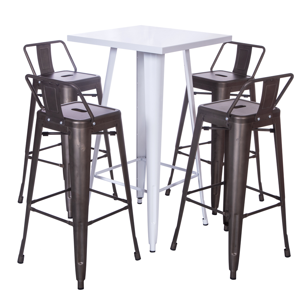 metal iron bistro industrial bar table and chair set