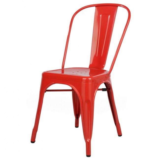 Tolix Style Metal Industrial Loft Designer Red Cafe Chair