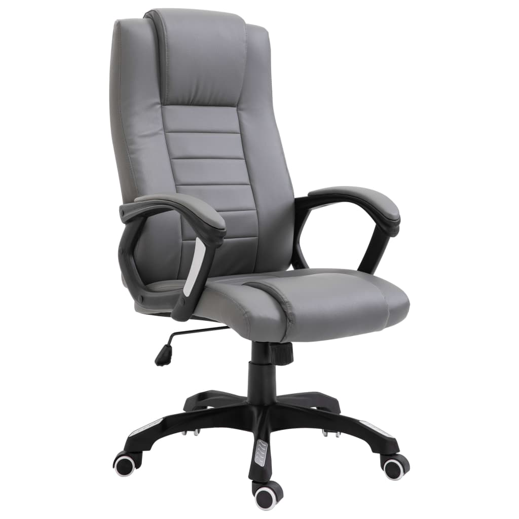 executive office chair grey faux leather high back