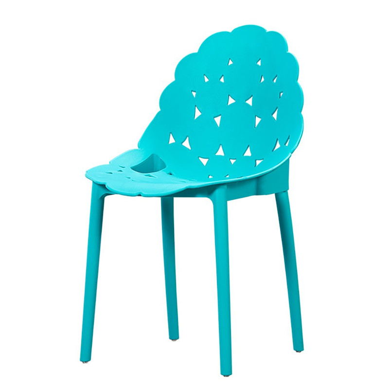 china new design pp plastic dining chair light blue