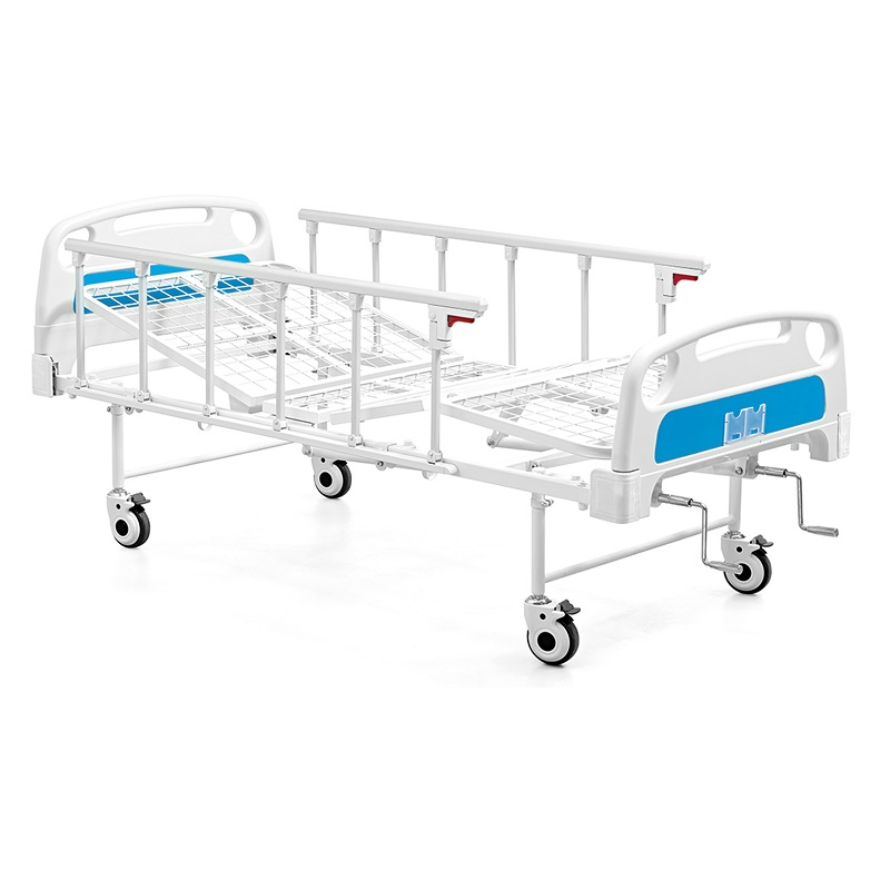 Two cranks manual hospital patient bed